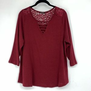 🌵 Papermoon Burgundy Ribbed Lace Shirt